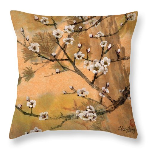 White Plum Blossoms Throw Pillow featuring the painting White Plum Blossoms With Pine Tree by Eileen Fong