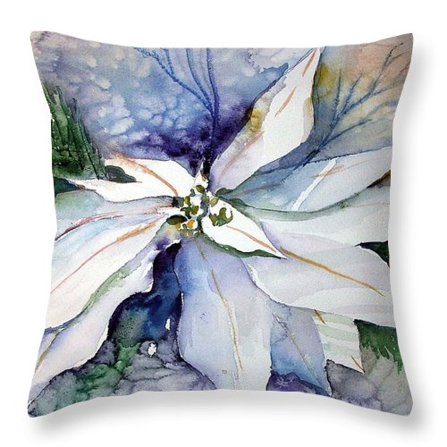 Floral Throw Pillow featuring the painting White Poinsettia by Mindy Newman