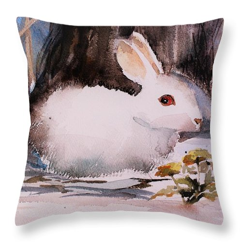 Rabbit Throw Pillow featuring the painting White Rabbit by Mindy Newman