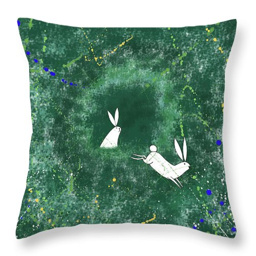 Rabbits Throw Pillow featuring the mixed media White Rabbits by Andrew Hitchen