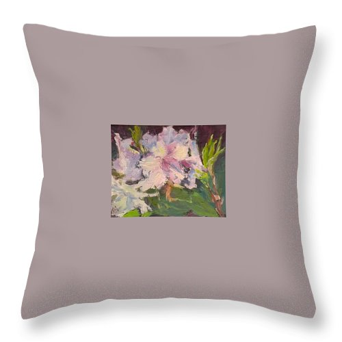 White Throw Pillow featuring the painting White Rhodedendrons by Maria Anderson