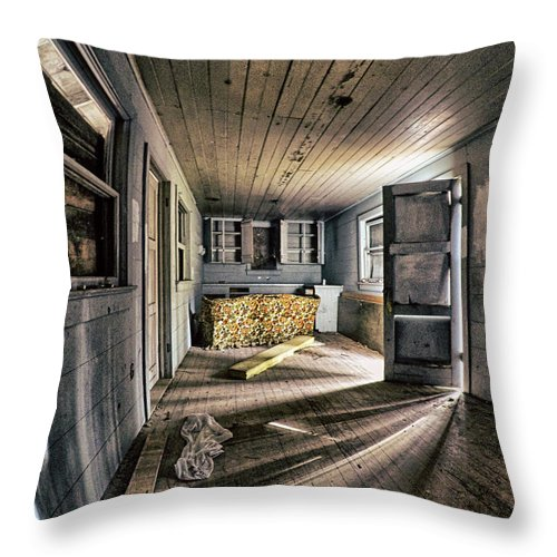 Dilapidated Throw Pillow featuring the photograph White Room, Yellow Couch, Real Estate Series by Aaron James