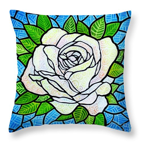 White Throw Pillow featuring the painting White Rose by Jim Harris