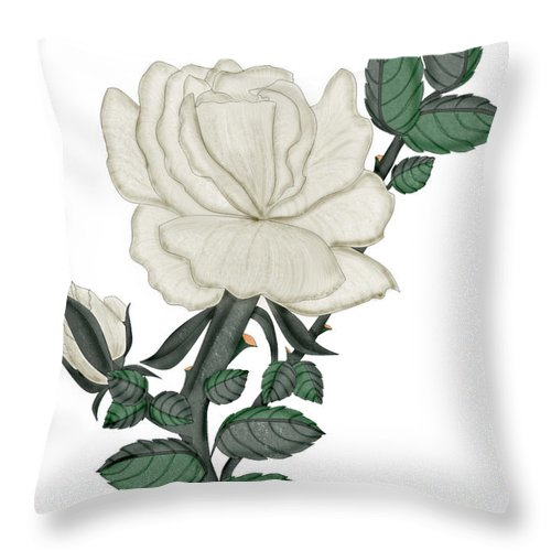 White Rose Throw Pillow featuring the painting White Rose On A Winter Day by Anne Norskog