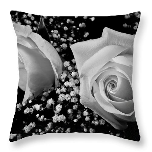 Flowers Throw Pillow featuring the photograph White Roses Bw Fine Art Photography Print by James BO Insogna