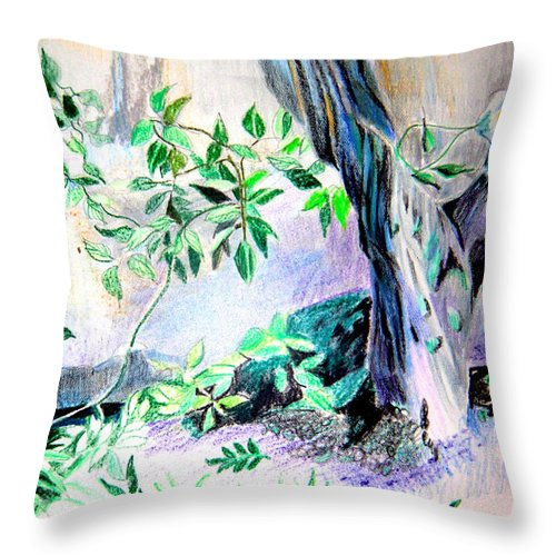 Tree Throw Pillow featuring the drawing White Roses by Mindy Newman
