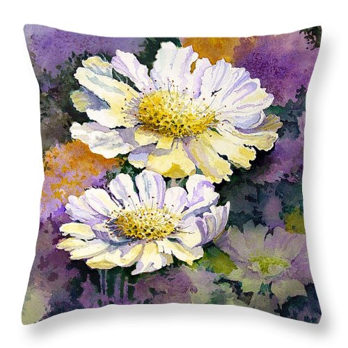 Flower Throw Pillow featuring the painting White Scabious by Sam Sidders