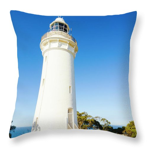 Lighthouse Throw Pillow featuring the photograph White Seaside Tower by Jorgo Photography - Wall Art Gallery