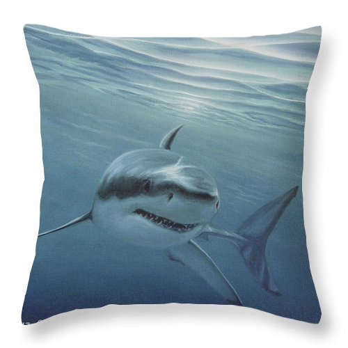 Shark Throw Pillow featuring the painting White Shark by Angel Ortiz