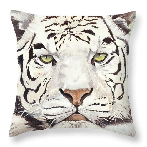 Tiger Throw Pillow featuring the painting White Silence by Shawn Stallings