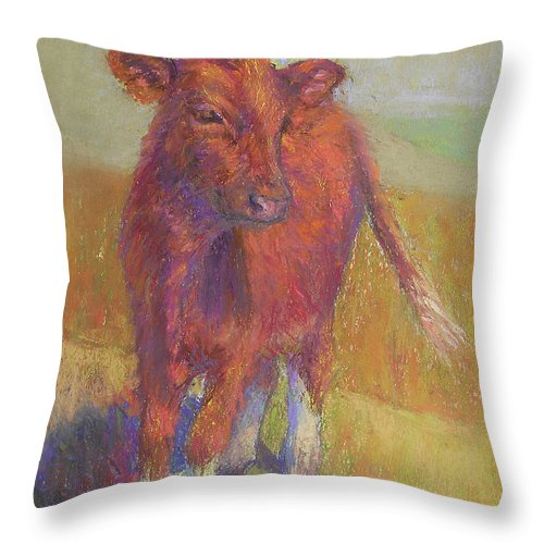 Cows Throw Pillow featuring the painting White Socks by Susan Williamson