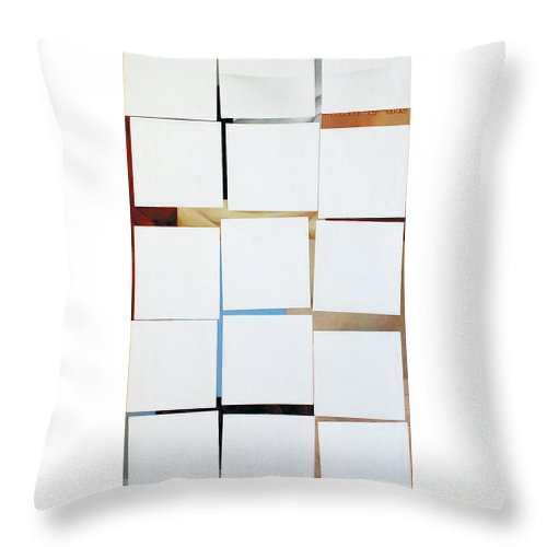 Geometry Throw Pillow featuring the painting White Squares by Maja Milovanovic