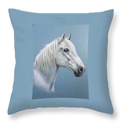 Horse Stallion White Pferd Portrait Animal Realism Pastel Throw Pillow featuring the pastel White Stallion by Nicole Zeug