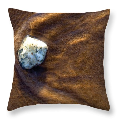 Stone Throw Pillow featuring the photograph White Stone In Sand by Steve Somerville