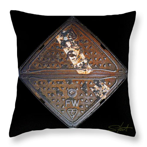 Grating Throw Pillow featuring the photograph White Stripe Diamond by Charles Stuart