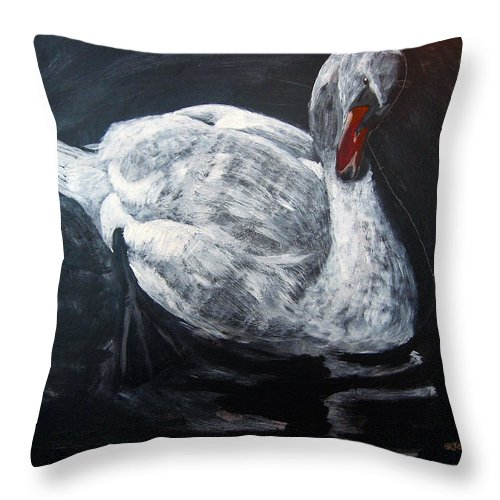 Swan Throw Pillow featuring the painting White Swan by Richard Le Page