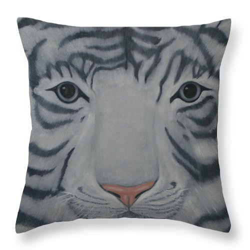 White Tiger Throw Pillow featuring the painting White Tiger by Toni Berry