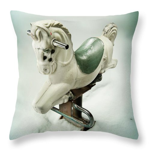 Playground Throw Pillow featuring the photograph White Toy Horse by Yo Pedro