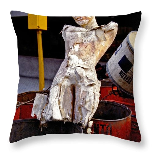 Trash Throw Pillow featuring the photograph White Trash by Skip Hunt