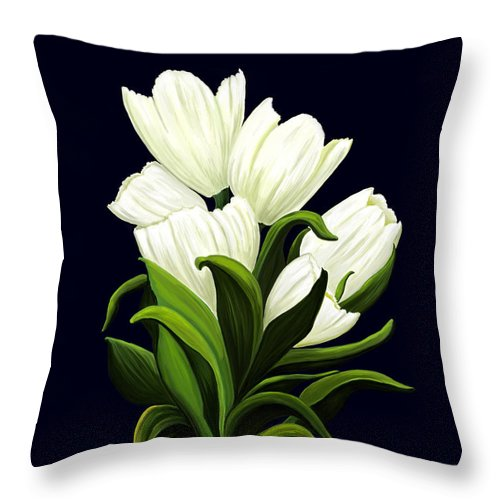 Mixed Media Throw Pillow featuring the painting White Tulips by Patricia Griffin Brett