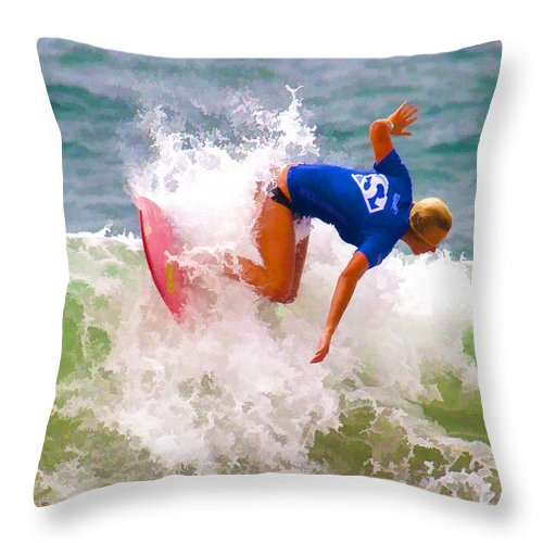 California Throw Pillow featuring the digital art White Water Time by Waterdancer