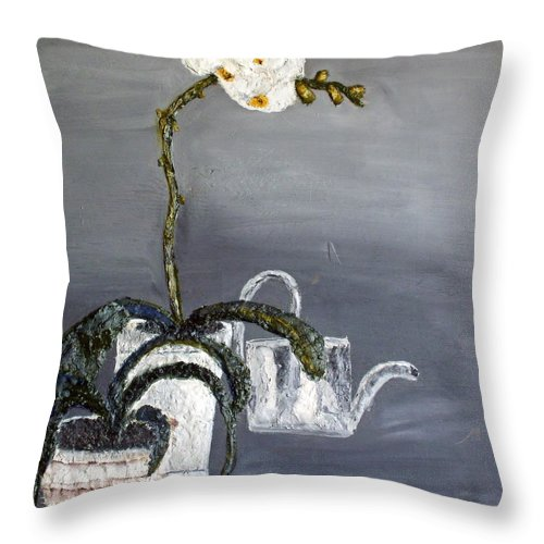 Still Life Paintings Throw Pillow featuring the painting White Wild Orchid by Leslye Miller