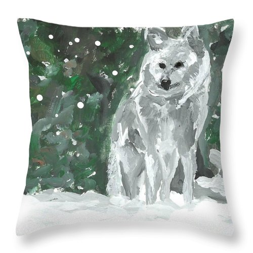 White Wolf Impressionism Art Painting Animal Forest Snow Woods Wildflife Throw Pillow featuring the painting White Wolf Impressionism by Monica Resinger