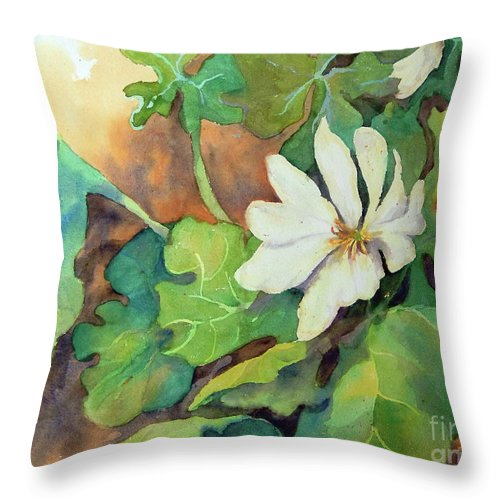 Contemporary Art Throw Pillow featuring the painting White Woodland Flower by Sharon Nelson-Bianco