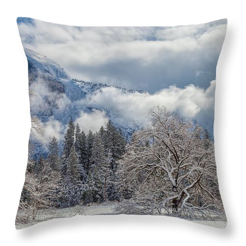 Landscape Throw Pillow featuring the photograph White Yosemite by Jonathan Nguyen