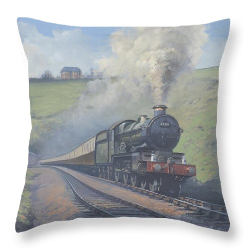 Rail Throw Pillow featuring the painting Whiteball Tunnel by Richard Picton