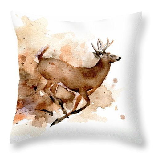 Whitetail Throw Pillow featuring the painting Whitetail Buck by David Rogers