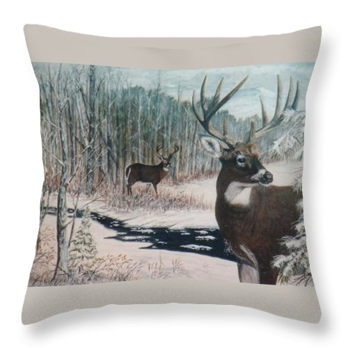 Deer; Snow; Creek Throw Pillow featuring the painting Whitetail Deer by Ben Kiger