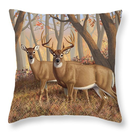 Deers Throw Pillow featuring the digital art Whitetail Deer Painting - Fall Flame by Crista Forest