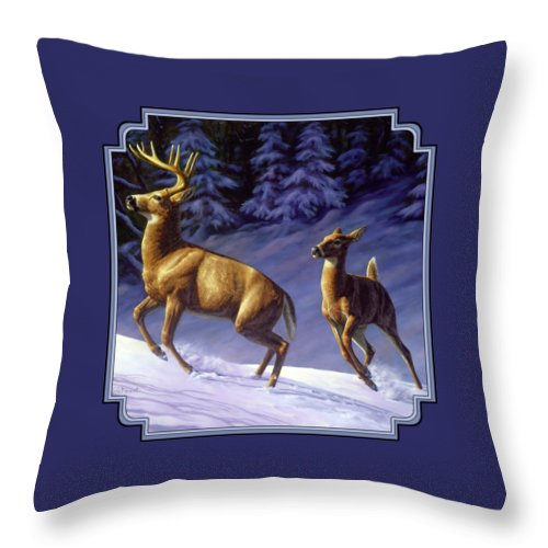 Deer Throw Pillow featuring the painting Whitetail Deer Painting - Startled by Crista Forest