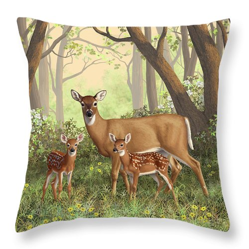 Whitetail Deer Throw Pillow featuring the painting Whitetail Doe And Fawns - Mom's Little Spring Blossoms by Crista Forest