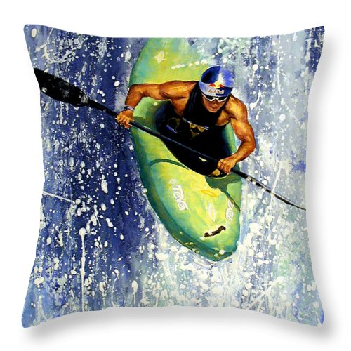 Kayaker Throw Pillow featuring the painting Whitewater Kayaker by Lynee Sapere
