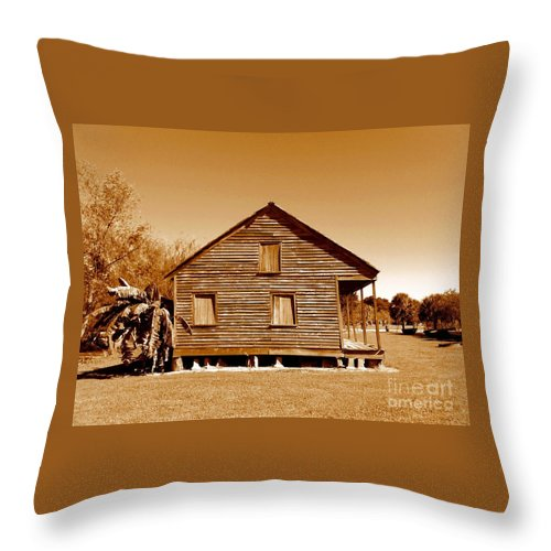 Whitney Plantation Throw Pillow featuring the photograph Whitney Plantation Slave Cabin In Wallace Louisiana by Michael Hoard