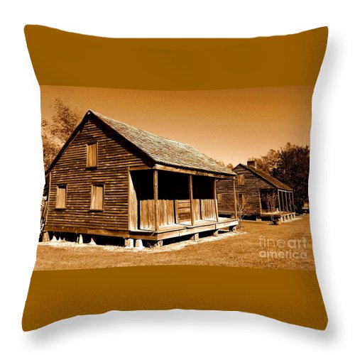 Whitney Plantation Throw Pillow featuring the photograph Whitney Plantation Slave Cabins by Michael Hoard