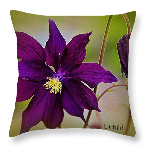 Purple Flower Throw Pillow featuring the photograph Who Am I by Lori Mahaffey