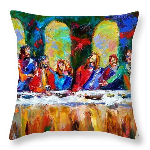 Last Supper Throw Pillow featuring the painting Who Among Us by Debra Hurd