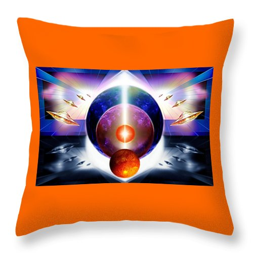 Space Saga Throw Pillow featuring the painting Who Can Tell . . . by Hartmut Jager