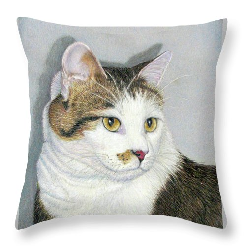 Pet Portraits Throw Pillow featuring the drawing Who Me by Beverly Fuqua