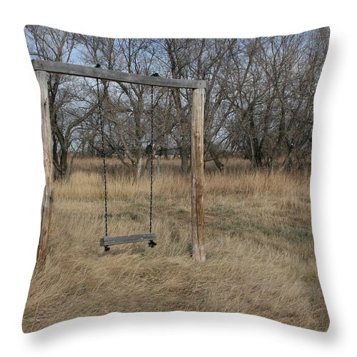 Swing Old Farm Grass Abandoned Trees Playgorund Lost Empty Lonely Throw Pillow featuring the photograph Who Played Here by Andrea Lawrence