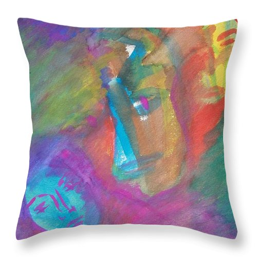 Abstract Throw Pillow featuring the painting Who Shall It Be by Judith Redman