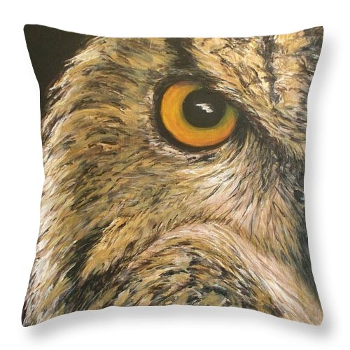 Owl Throw Pillow featuring the painting Whooo Goes There by Cathy McGregor