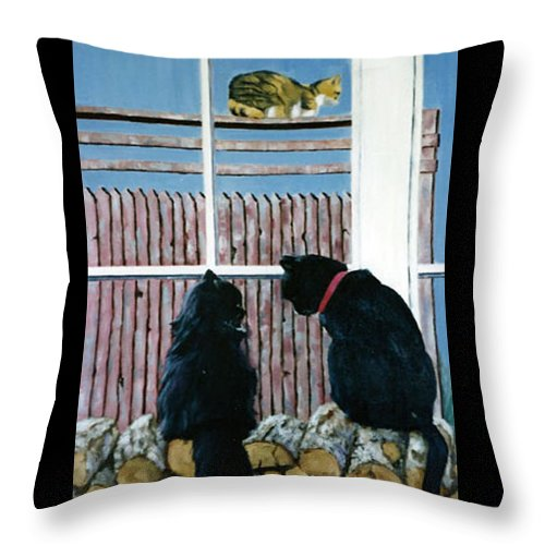 Cat Portrait Throw Pillow featuring the painting Who's That by Fran Rittenhouse-McLean