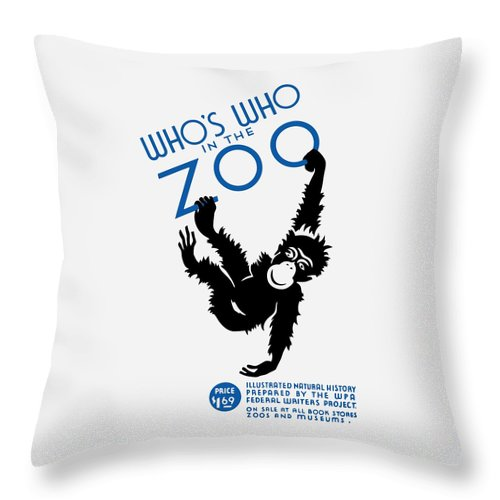 Wpa Throw Pillow featuring the painting Who's Who In The Zoo - Wpa by War Is Hell Store
