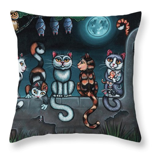 Cats Throw Pillow featuring the painting Whos Your Daddy Cat Painting by Victoria De Almeida