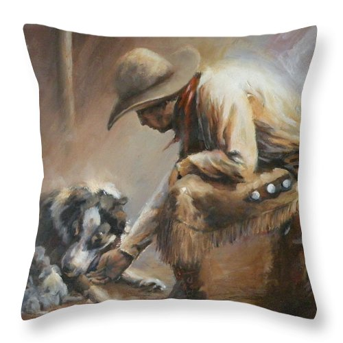 Cowboys Throw Pillow featuring the painting Who's Your Daddy by Mia DeLode