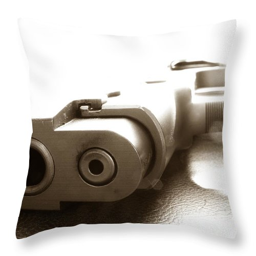 Gun Throw Pillow featuring the photograph Why by Amanda Barcon
